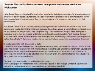Sundae Electronics launches new headphone awareness device