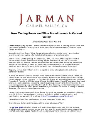 New Tasting Room and Wine Brand Launch in Carmel Valley!