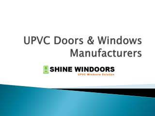 UPVC Doors & Windows Manufacturers
