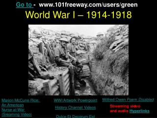 World War I – 1914-1918