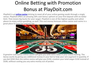Online Betting with Promotion Bonus at PlayDoit.com