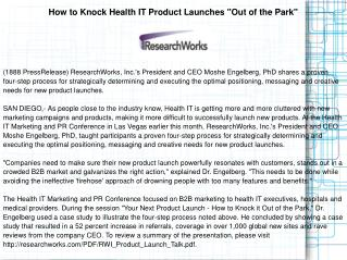"How to Knock Health IT Product Launches ""Out of the Park"""