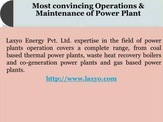 Operation and maintenance of thermal power plant