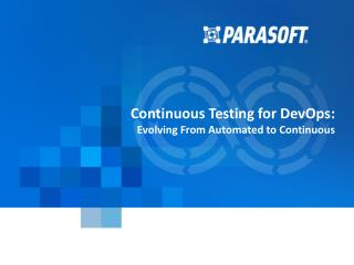 Enable Continuous Delivery with Continuous Testing-Parasoft
