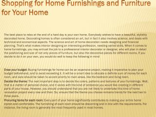 Shopping for Home Furnishings and Furniture for Your Home