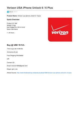Verizon USA iPhone Unlock 6 / 6 Plus
