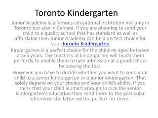 Toronto Kindergarten