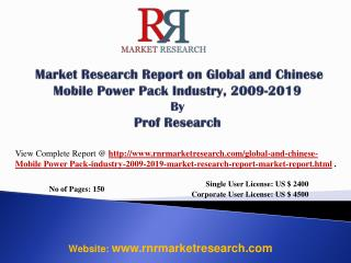 Mobile Power Pack Industry 2019 Forecasts for Global and Chi
