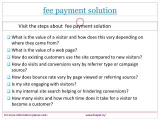 Data available  about fee payment solution
