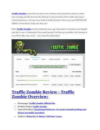 Traffic Zombie Review – MEGA $22,400 Bonus & 65% DISCOUNT