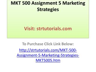 MKT 500 Assignment 5 Marketing Strategies