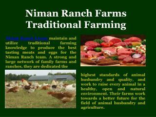 Niman Ranch Farms Traditional Farming
