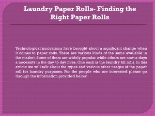 Laundry paper rolls finding the right paper rolls