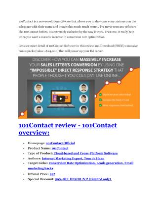 101Contact Review-(FREE) $32,000 Bonus & Discount