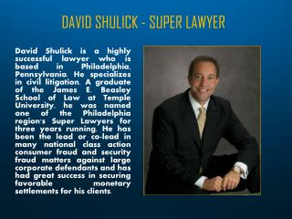 DAVID SHULICK - SUPER LAWYER