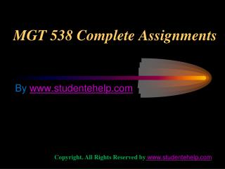 MGT 538 Complete Assignments