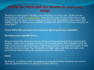 Moving Tips: How to pack your valuables for moving and stora
