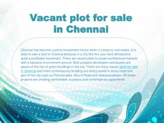 Vacant plot for sale in Chennai