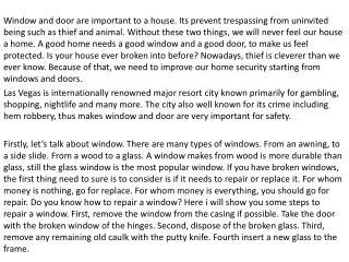 Window Repair Las Vegas