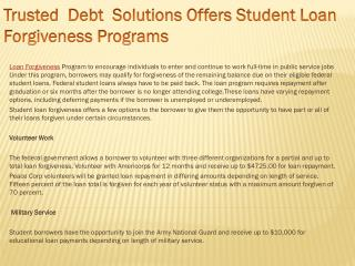 Trusted  Debt  Solutions Offers Student Loan Forgiveness Pro