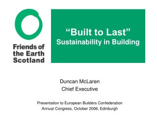 Built to Last  Sustainability in Building