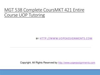 MKT 421 Entire Course UOP Tutoring