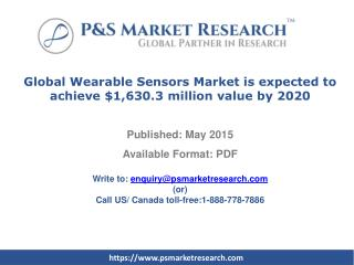 Global Wearable Sensors Market is expected to achieve $1,630