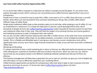 Java Times Caffe Coffee Franchise Opportunities Offer