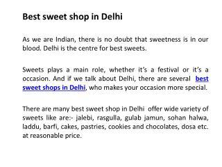 Best sweet shop in Delhi