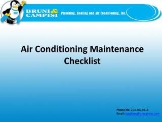 Air Conditioning Maintenance Checklist