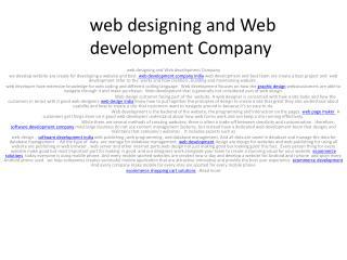 web designing and Web development Company