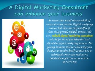 A Digital Marketing Consultant can enhance your business