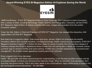 Award-Winning EYES IN Magazine Edition 44 Explores