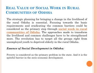 Real Value of Social Work in Rural Communities of Odisha