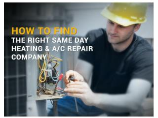 Find The Best Same Day HVAC Heating And Repair Company