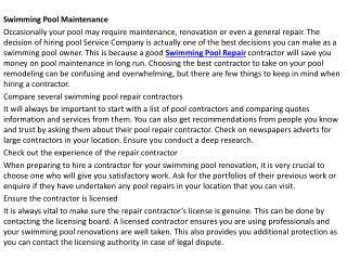 Swimming Pool Repair