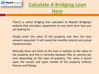 Calculate A Bridging Loan Here