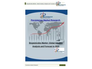 Biopesticides Market: Global Industry Analysis and Forecast