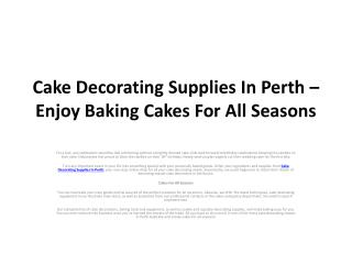Cake Decorating Supplies In Perth – Enjoy Baking Cakes For A