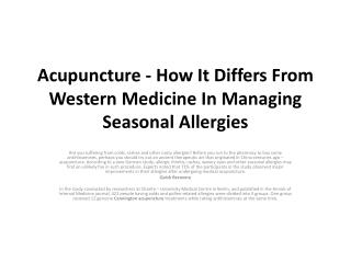 Acupuncture - How It Differs From Western Medicine In Managi