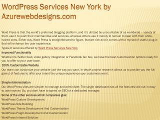 WordPress Services New York by Azurewebdesigns.com