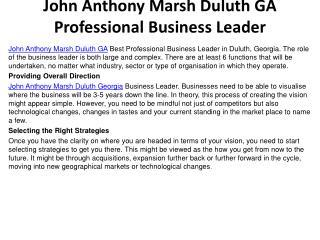 John Anthony Marsh Duluth GA Professional Business Leader