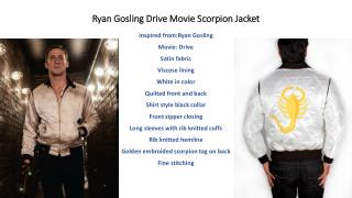 Ryan Gosling as Driver in Drive Movie Scorpion Jacket