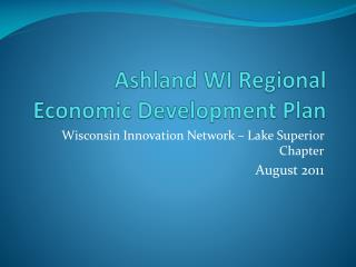 Ashland WI Regional Economic Development Plan