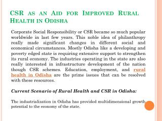 CSR as an Aid for Improved Rural Health in Odisha