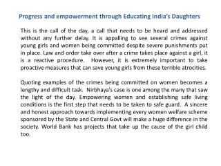 Progress and empowerment through Educating India's Daughters