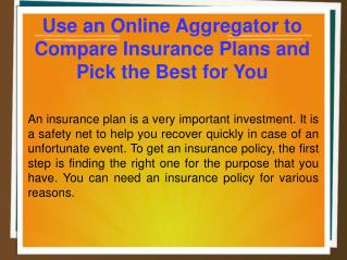 Use an Online Aggregator to Compare Insurance Plans