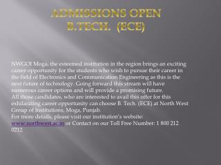 ADMISSIONS OPEN B.TECH. (ECE)
