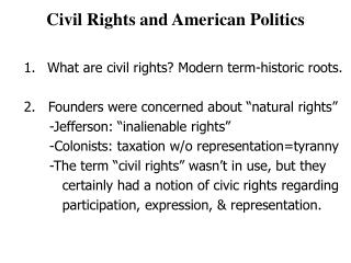 Civil Rights and American Politics