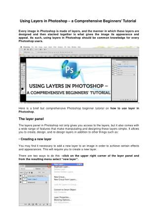 Using Layers in Photoshop – a Comprehensive Beginners' Tutor
